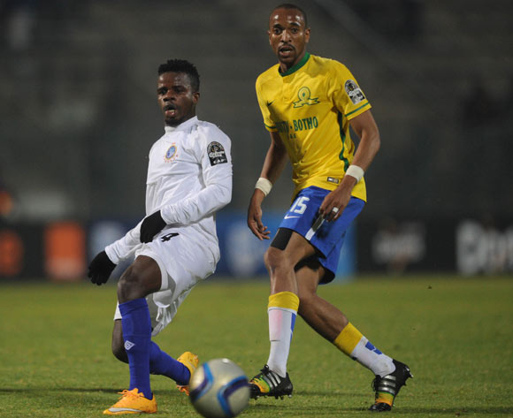 Tiyani Mabunda of Mamelodi Sundowns is challenged by Anaezemba Nzube of Enyimba  during the CAF Champions League match Mamelodi Sundowns and  Enyimba on 29 June 2016 at Lucas Moripe Stadium  Pic Sydney Mahlangu/ BackpagePix