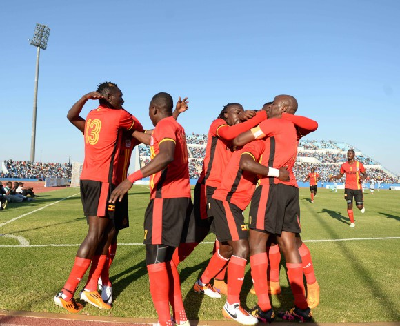 BOTSWANA, Francistown, Luwaga William Kizito  of Uganda  celebrating a goal with the teammate  during the AFCON 2017 qualifying match at the Francistown Stadium in Botswana on 4 June 2016.  MONIRUL BHUIYAN/Backpagepix
