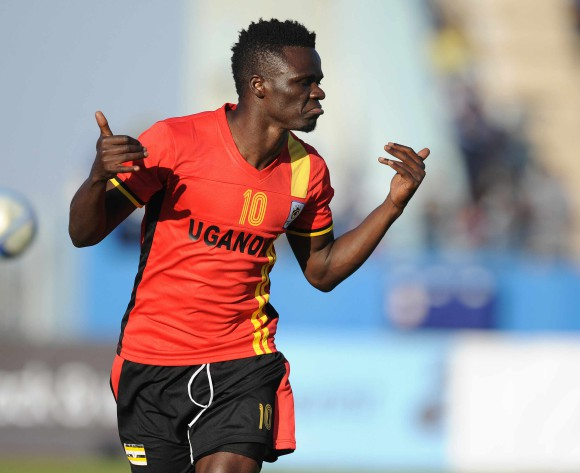 BOTSWANA, Francistown, Luwaga William Kizito  of Uganda  celebrating a goal during the AFCON 2017 qualifying match at the Francistown Stadium in Botswana on 4 June 2016.  MONIRUL BHUIYAN/Backpagepix