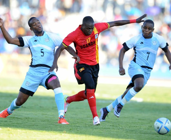 BOTSWANA, Francistown, Tebogo Sosome of Botswana National team Zebras  and  MIYA FARUKU of Uganda  vie for the ball during the AFCON 2017 qualifying match at the Francistown Stadium in Botswana on 4 June 2016.  MONIRUL BHUIYAN/Backpagepix