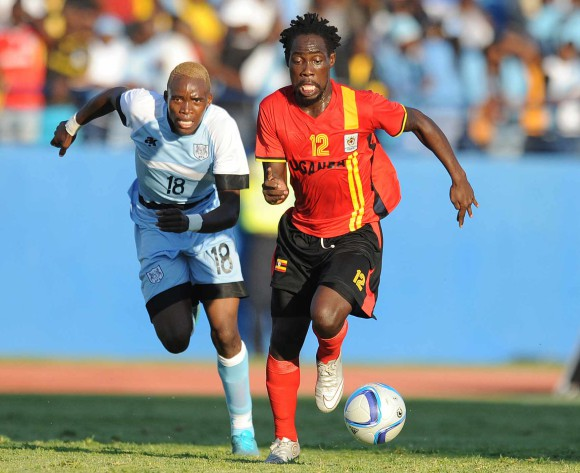 BOTSWANA, Francistown, Lebogang Disele of Botswana National team Zebras  and Iguma Denis  of Uganda  vie for the ball during the AFCON 2017 qualifying match at the Francistown Stadium in Botswana on 4 June 2016.  MONIRUL BHUIYAN/Backpagepix