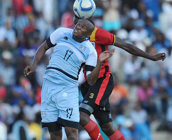 BOTSWANA, Francistown, Joel Mogorosi of Botswana National team Zebras  and  Juuko Murushid of Uganda  vie for the ball during the AFCON 2017 qualifying match at the Francistown Stadium in Botswana on 4 June 2016.  MONIRUL BHUIYAN/Backpagepix