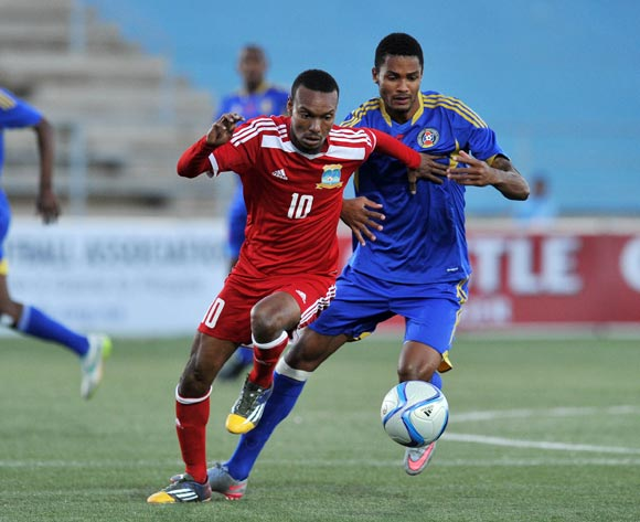 Achille Henriette of Seychelles challenged by Felix Badenhorst of Swaziland during the 2016 Cosafa Cup match between Swaziland and Seychelles at Sam Nujoma Stadium in Windhoek Namibia on 13 June, 2016 ©Muzi Ntombela/BackpagePix