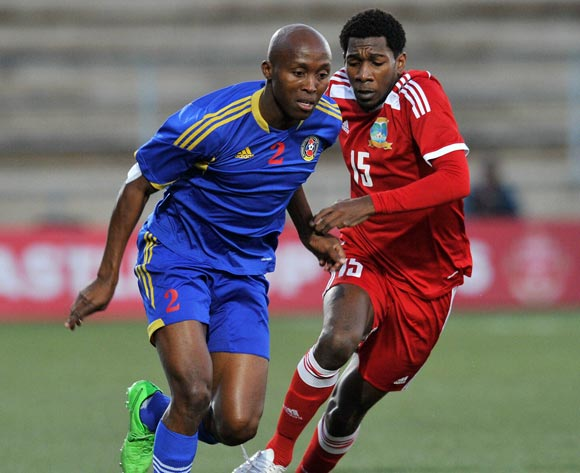 Sifiso Mabila of Swaziland challenged by Tamboo Elijah of Seychelles during the 2016 Cosafa Cup match between Swaziland and Seychelles at Sam Nujoma Stadium in Windhoek Namibia on 13 June, 2016 ©Muzi Ntombela/BackpagePix