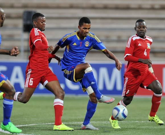Benoit Marie of Seychelles (6) challenges Felix Badenhorst of Swaziland during the 2016 Cosafa Cup match between Swaziland and Seychelles at Sam Nujoma Stadium in Windhoek Namibia on 13 June, 2016 ©Muzi Ntombela/BackpagePix