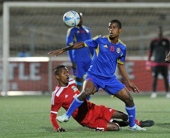 Collin Esther of Seychelles fouled by Njabulo Ndlovu of Swaziland during the 2016 Cosafa Cup match between Swaziland and Seychelles at Sam Nujoma Stadium in Windhoek Namibia on 13 June, 2016 ©Muzi Ntombela/BackpagePix