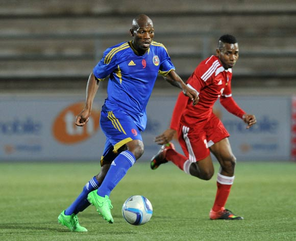 Sabelo Ndzinisa of Swaziland challenged by Yanick Manoo of Seychelles during the 2016 Cosafa Cup match between Swaziland and Seychelles at Sam Nujoma Stadium in Windhoek Namibia on 13 June, 2016 ©Muzi Ntombela/BackpagePix