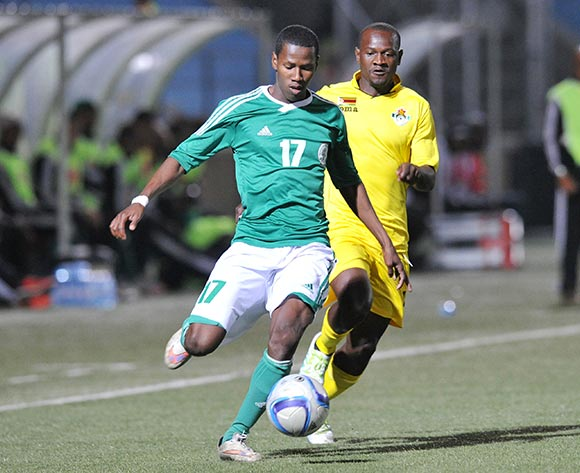 Elefoni of Madagascar challenged by Bruce Kangwa of Zimbabwe during the 2016 Cosafa Cup match between Madagascar and Zimbabwe at Sam Nujoma Stadium in Windhoek Namibia on 13 June, 2016 ©Muzi Ntombela/BackpagePix