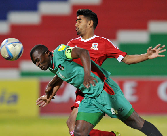 Cedric Permal of Mauritius challenges Chiukepo Pulli Msowoya of Malawi during the 2016 Cosafa Cup match between Mauritius and Malawi at Independence Stadium in Windhoek Namibia on 14 June, 2016 ©Muzi Ntombela/BackpagePix