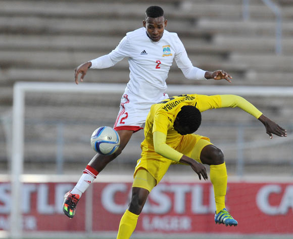 Charlton Mashumba of Zimbabwe challenged by Yanick Manoo of Seychelles during the 2016 Cosafa Cup match between Zimbabwe and Seychelles at Sam Nujoma Stadium in Windhoek Namibia on 15 June, 2016 ©Muzi Ntombela/BackpagePix