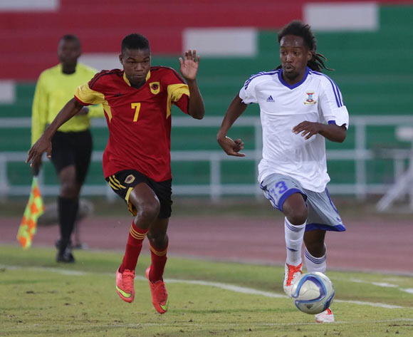 Laval Rungassamy of Mauritius (left) and Nelson Mudile of Angola in action during their Cosafa Castle Cup match in Windhoek on 16 June 2016. Photo: BackpagePix