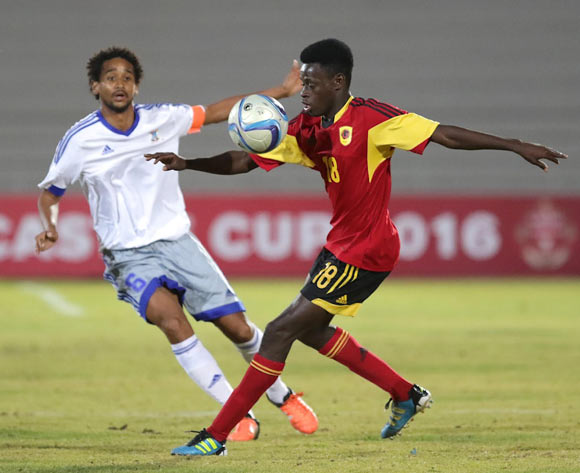 Carlos Do Carmo of Angola (left) and Jean Anderson Langue of Mauritius  in action during their Cosafa Castle Cup match in Windhoek on 16 June 2016. Photo: BackpagePix