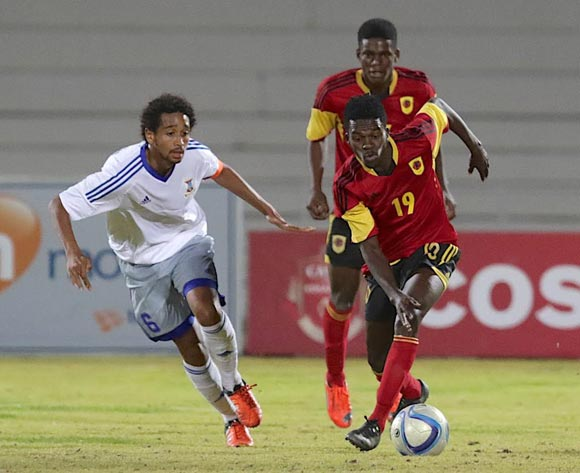 Jean Pierre Sophie of Mauritius (left) and Jean Anderson Langue of Angola in action during their Cosafa Castle Cup match in Windhoek on 16 June 2016. Photo: BackpagePix