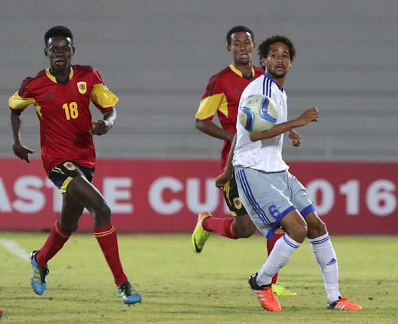 Paulino Nguendelamba of Angola (left) and Louis Dorxa of Mauritius in action during their Cosafa Castle Cup match in Windhoek on 16 June 2016. Photo: BackpagePix