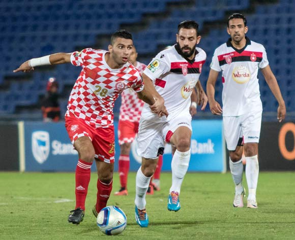 Walid Sabbar of Kawkab (l) during the CAF Confederation Cup match between Kawkab Marrakech and  Etoile Sahel in Marrakech, Morocco on 17 June  2016 ©BackpagePix