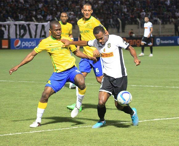 Asavela Mbekile of Sundowns and Lamri of Setif  during the CAF Champions League match between Entente Setif and Mamelodi Sundowns in Setif on 18 June 2016 ©BackpagePix