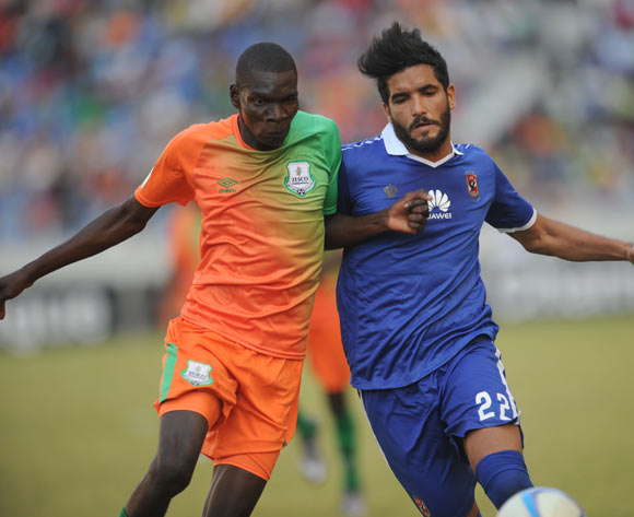 Saleh Saleh of Al Ahly is challenged by Mtonga Kondwani  of Zesco during the CAF Champions League match between Zesco and Al Ahly on 18 June 2016 at St Peter's College Pic Sydney Mahlangu/ BackpagePix