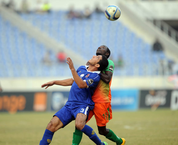 Lazaraous Kambole of Zesco challenges Ramy Hisham Abdelaziz Rabia of Al Ahly during the CAF Champions League match between Zesco and Al Ahly on 18 June 2016 at St Peter's College Pic Sydney Mahlangu/ BackpagePix