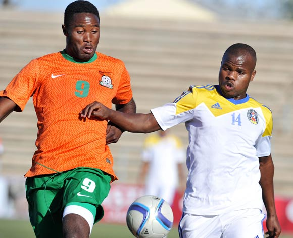 Machawe Dlamini of Swaziland challenged by Festus Mbewe of Zambia during the 2016 Cosafa Cup Quarterfinals match between Zambia and Swaziland at Sam Nujoma Stadium in Windhoek Namibia on 19 June, 2016 ©Muzi Ntombela/BackpagePix