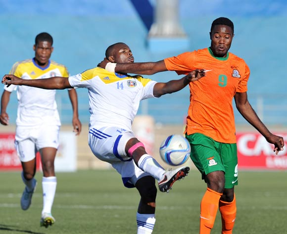 Machawe Dlamini of Swaziland clears ball from Festus Mbewe of Zambia during the 2016 Cosafa Cup Quarterfinals match between Zambia and Swaziland at Sam Nujoma Stadium in Windhoek Namibia on 19 June, 2016 ©Muzi Ntombela/BackpagePix