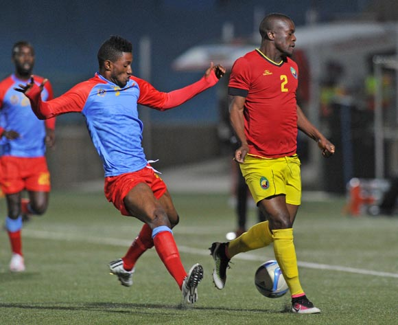 Joao Mazive of Mozambique challenged by Lobi Manzoki of DR Congo during the 2016 Cosafa Cup Quarterfinals match between DR Congo and Mozambique at Sam Nujoma Stadium in Windhoek Namibia on 19 June, 2016 ©Muzi Ntombela/BackpagePix