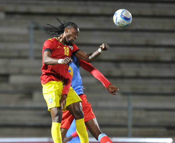 Joao Mussica of Mozambique challenged by Lobi Manzoki of DR Congo during the 2016 Cosafa Cup Quarterfinals match between DR Congo and Mozambique at Sam Nujoma Stadium in Windhoek Namibia on 19 June, 2016 ©Muzi Ntombela/BackpagePix