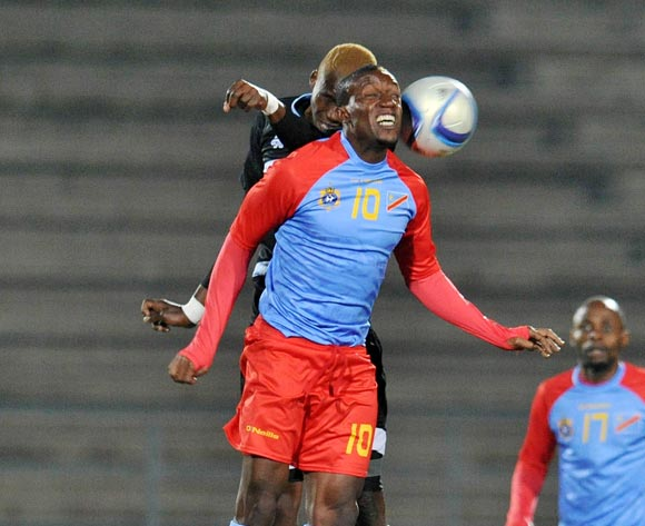 Lema Mabidi of DR Congo challenged by Lebogang Ditsele of Botswana during the 2016 Cosafa Cup Semifinal match between Botswana and DR Congo at Sam Nujoma Stadium in Windhoek Namibia on 22 June, 2016 ©Muzi Ntombela/BackpagePix