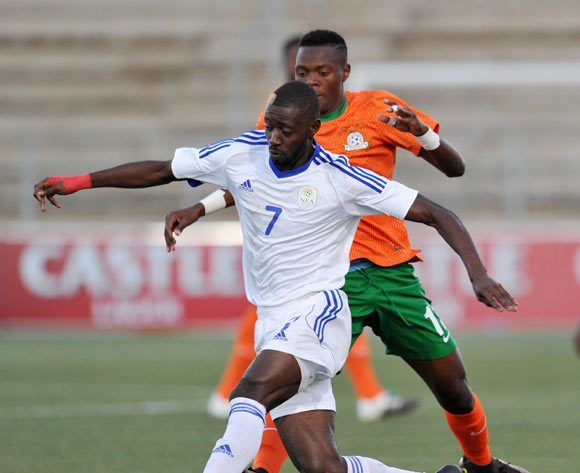 Deon Hotto of Namibia challenged by Patson Daka of Zambia during the 2016 Cosafa Cup Plate Final match between Zambia and Namibia at Sam Nujoma Stadium in Windhoek Namibia on 24 June, 2016 ©Muzi Ntombela/BackpagePix