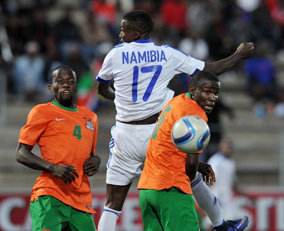 Itamunua Keimuine of Namibia challenged by Buchizya Mfune of Zambia during the 2016 Cosafa Cup Plate Final match between Zambia and Namibia at Sam Nujoma Stadium in Windhoek Namibia on 24 June, 2016 ©Muzi Ntombela/BackpagePix