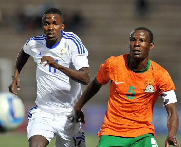 Buchizya Mfune of Zambia challenged by Itamunua Keimuine of Namibia during the 2016 Cosafa Cup Plate Final match between Zambia and Namibia at Sam Nujoma Stadium in Windhoek Namibia on 24 June, 2016 ©Muzi Ntombela/BackpagePix