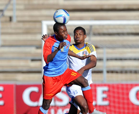Watshini Bukia of DR Congo challenged by Njabulo Ndlovu of Swaziland during the 2016 Cosafa Cup 3rd Place Play Off match between Swaziland and DR Congo at Sam Nujoma Stadium in Windhoek Namibia on 25 June, 2016 ©Muzi Ntombela/BackpagePix