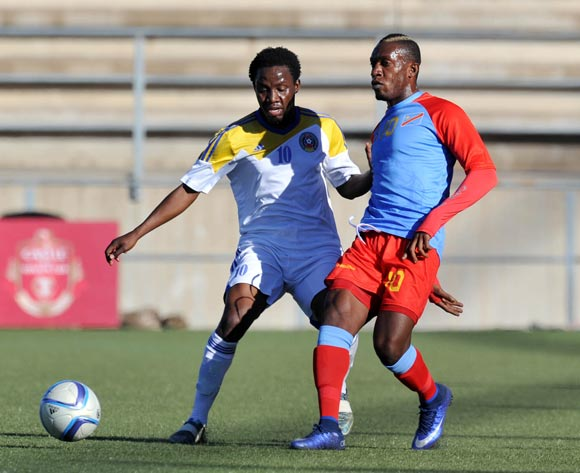Lema Mabidi of DR Congo challenged by Banele Sikhondze of Swaziland during the 2016 Cosafa Cup 3rd Place Play Off match between Swaziland and DR Congo at Sam Nujoma Stadium in Windhoek Namibia on 25 June, 2016 ©Muzi Ntombela/BackpagePix