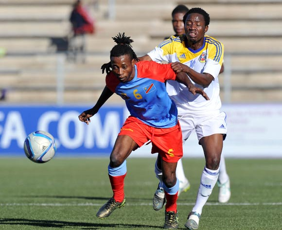 Bukasa Bakangila of DR Congo challenged by Banele Sikhondze of Swaziland during the 2016 Cosafa Cup 3rd Place Play Off match between Swaziland and DR Congo at Sam Nujoma Stadium in Windhoek Namibia on 25 June, 2016 ©Muzi Ntombela/BackpagePix