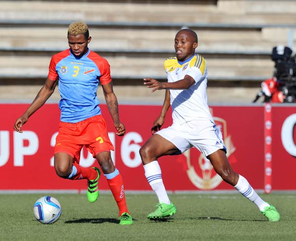 Lomalisa Mutambala of DR Congo challenged by Sifiso Mabila of Swaziland during the 2016 Cosafa Cup 3rd Place Play Off match between Swaziland and DR Congo at Sam Nujoma Stadium in Windhoek Namibia on 25 June, 2016 ©Muzi Ntombela/BackpagePix