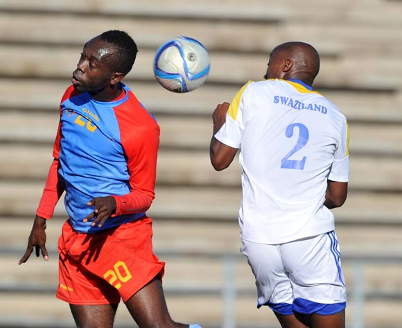 Sedrick Ngulubi of DR Congo challenged by Sifiso Mabila of Swaziland during the 2016 Cosafa Cup 3rd Place Play Off match between Swaziland and DR Congo at Sam Nujoma Stadium in Windhoek Namibia on 25 June, 2016 ©Muzi Ntombela/BackpagePix