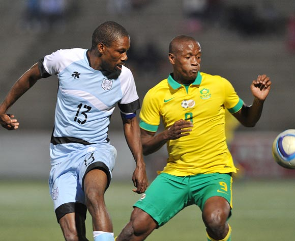 Boitumelo Mafoko of Botswana challenges Judas Moseamedi of South Africa during the 2016 Cosafa Cup Final match between South Africa and Botswana at Sam Nujoma Stadium in Windhoek Namibia on 25 June, 2016 ©Muzi Ntombela/BackpagePix
