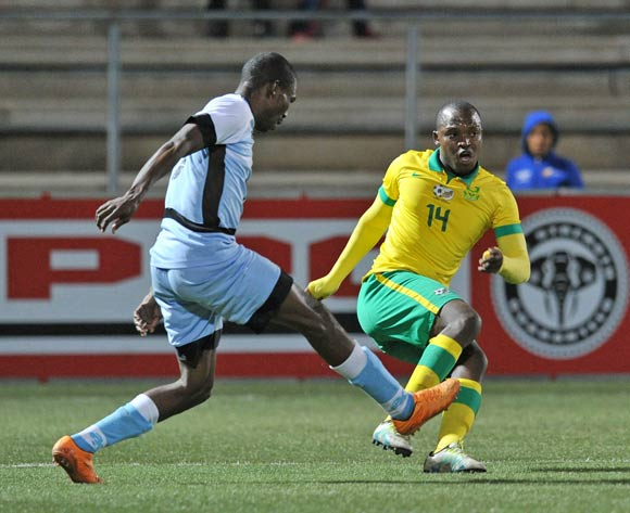 Gift Motupa of South Africa challenged by Boitumelo Mafoko of Botswana during the 2016 Cosafa Cup Final match between South Africa and Botswana at Sam Nujoma Stadium in Windhoek Namibia on 25 June, 2016 ©Muzi Ntombela/BackpagePix