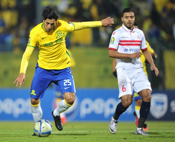 Leonardo Castro of Mamelodi Sundowns challenged by Ibrahim Ekhaek Sayed of Zamalek during the CAF Champions League match between Mamelodi Sundowns and Zamalek at the Lucas Moripe Stadium in Pretoria, South Africa on July 27, 2016 ©Samuel Shivambu/BackpagePix