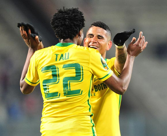 Percy Tau celebrates his goal with with Keagan Dolly of Mamelodi Sundowns during the CAF Champions League match between Mamelodi Sundowns and Zamalek at the Lucas Moripe Stadium in Pretoria, South Africa on July 27, 2016 ©Samuel Shivambu/BackpagePix