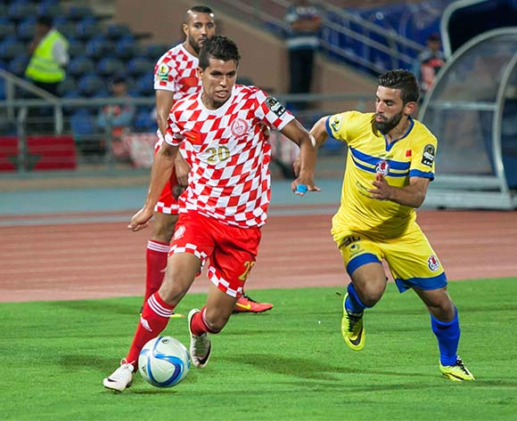 Mohamed El Fahik of Kawkab (l) challenged Mohamed Fouzair of FUS Rabat during the CAF Confederation Cup match between Kawkab Marrakech and  FUS Rabata in Marrakech, Morocco on 15 July  2016 ©BackpagePix