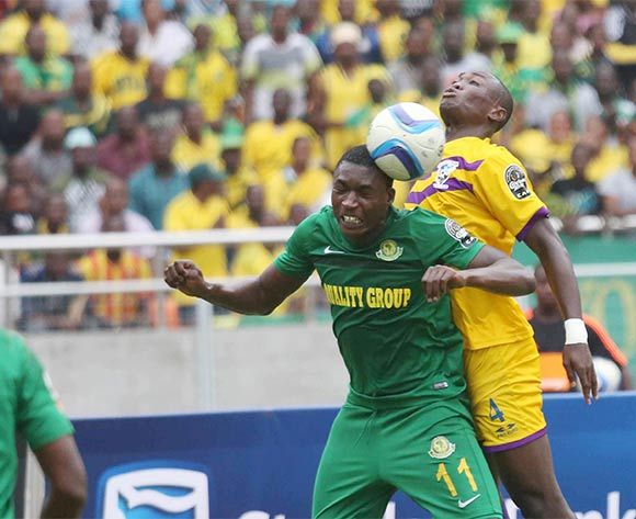 Leonard Ngoma of Yanga FC fights for the ball with Moses Amposah of Medeama during the CAF Confederation Cup football match between Young Africans and Medeama at the National Stadium in Dar es Salaam, Tanzania on 16 July 2016 ©BackpagePix