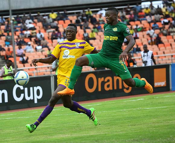 Obrey Chirwa (R), of Yanga fights for the ball with Saluf Moro of Medeama during the CAF Confederation Cup football match between Young Africans and Medeama at the National Stadium in Dar es Salaam, Tanzania on 16 July 2016 ©BackpagePix
