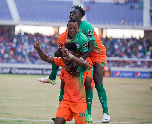 Idris Mombo of Zesco (below) celebrates goal with teammates during the CAF Champions League football match between Zesco and Asec Abidjan at the Levy Mwanawasa Stadium in Ndola, Zambia on 16 July 2016 ©BackpagePix