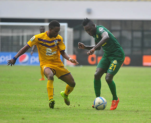 Kwame Boahene of Medeama SC challenging Juma Hassan Mahadhi of Young Africans SC during the CAF Confederation Cup between Medeama SC and Young Africans 26 july 2016 playing in Sekondi Ghana © Christian Thompson/BackpagePix