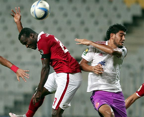 Al Ahly's player John Antwi  (L) in action against an Wydad Casablanca player  Salaheddine Saidii (R)  during the African Champions League (CAF) group stage match between Al Ahly and Asec Mimosas at Borg Al Arab stadium in Alexandria, Egypt, 16 July 2016.  EPA/KHALED ELFIQI