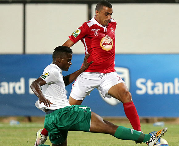 Etoile Sportive du Sahel player Ahmed Elaakychi  (R) and Al Ahly Tripoli player Mahmoud Walou   (L) fight for the ball during the CAF Confederation Cup soccer match between Etoile Sportive du Sahel of Tunisia and Al Ahly Tripoli of Libya at the Olympique Stadium in Sousse, Tunisia, 16 July 2016.  EPA/MOHAMED MESSARA