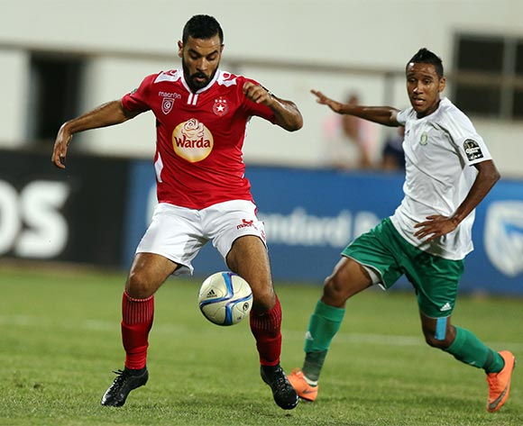 Etoile Sportive du Sahel player Alaya Brigui (L) during the CAF Confederation Cup soccer match between Etoile Sportive du Sahel of Tunisia and Al Ahly Tripoli of Libya at the Olympique Stadium in Sousse, Tunisia, 16 July 2016.  EPA/MOHAMED MESSARA