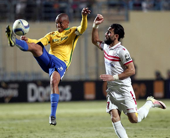 Zamalek's Basem Morsi (R) in action against Sundowns player Thabo Nthethe (L) during the African Champions League (CAF) group stage soccer match between Zamalek's and Sundowns at Petro Sport stadium in Cairo, Egypt, 17 July 2016  EPA/KHALED ELFIQI