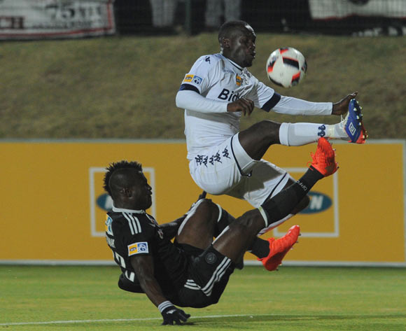 Cuthbert Malajilaof Bidvest Wits is challenged by Edwin Gyimah of Orlando Pirates  during the MTN8 match between Buidvest Wits and Orlando Pirates 27 August 2016 at Bidvest Stadium Pic Sydney Mahlangu/ BackpagePix