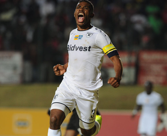 Thulani Hlatshwayo of Bidvest Wits celebrates a goal during the MTN8 match between Bidvest Wits and Orlando Pirates on 27 August 2016 at Bidvest Stadium